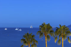 Ships on Mediterranean Sea near the shores of Cannes Royalty Free Stock Photos