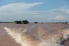 Ships on Mekong River Stock Image