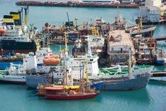 Ships at moorage Stock Photos