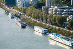 Ships Moored Along Waterfront In Bratislava Royalty Free Stock Photography
