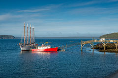 Ships moored in Bar Harbor Maine Royalty Free Stock Image