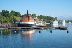 The ships moored at the city embankment. August morning on the Saimaa lake. Lappeenranta Stock Image