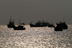 Ships moored in the harbour. Mui ne, vietnam Royalty Free Stock Photo