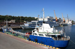 Ships moored at port Stock Photos