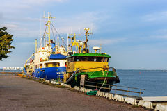Ships moored in the Port of Kalmar Royalty Free Stock Photos