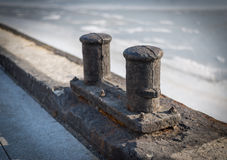 Ships mooring bollard. Stock Photo