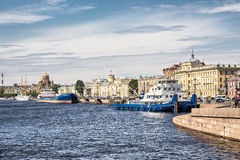 Ships on a mooring at the Lieutenant Schmidt Embankment in downtown St. Petersburg Stock Photos