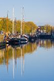 Ships in the morningsun. Ships in the harbor on a blue and golden Octobermorning Stock Images