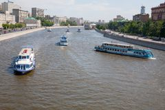 Ships on the Moskva River Royalty Free Stock Photography