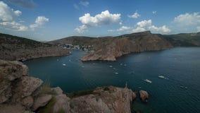 Ships move along the seashore. Timelapse. Crimea. Russia stock footage