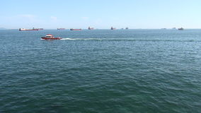 Ships move from Black Sea to Marmara Sea stock video footage