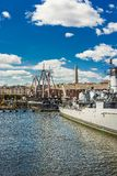 Ships near Charlestown peninsula in Boston Royalty Free Stock Photo