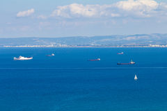 Ships near the coast of Haifa Royalty Free Stock Photos