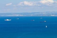 Ships near the coast of Haifa.  Royalty Free Stock Photos