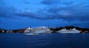 Ships at night Stock Image