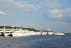 Ships in the North river port in Moscow. Motor ships in the port of the Moscow Northern River Station Moscow-Volga Canal. Excursion boats travel to cities in Stock Image