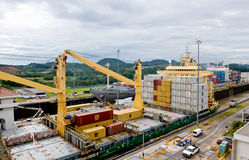 Ships in the Panama Canal Stock Photography