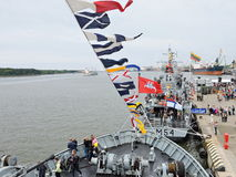 Ships Parade celebrate in Klaipeda, Lithuania. War ships in Klaipeda harbour in Ships Parade celebrate day in 2016 May 14 Royalty Free Stock Images