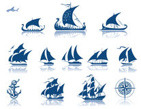 Ships of the past iconset royalty free illustration