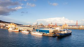 Ships are Pictured Docked in Port Las Palmas de Gran Canaria, Spain. Ships are pictured docked in port Las Palmas de Gran Canaria, Spain Royalty Free Stock Images