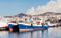 Port Las Palmas de Gran Canaria. Ships are pictured docked in port Las Palmas de Gran Canaria, Spain Royalty Free Stock Image
