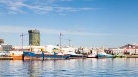 The Port of Las Palmas de Gran Canaria. Ships are pictured docked in port Las Palmas de Gran Canaria, Spain Stock Photo
