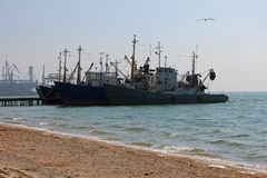 Ships at the pier of Azov Sea, Ukraine, Seascape stock photography