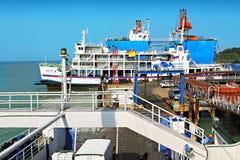 Ships at pier Stock Image