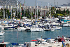 Ships in port Akdeniz, Antalya Stock Photography
