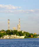 Ships in port. On the background of the transmission line Stock Photo
