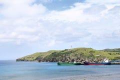 Ships at port of Basco at Batan island in Batanes, Philippines Stock Images