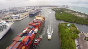 Ships at Port Everglades Florida stock video