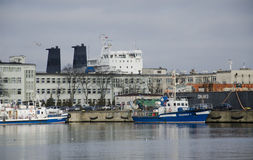 Ships at the port of Gdynia. Large ships by the port harbor of Gdynia, Poland royalty free stock image