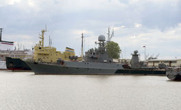 Ships in the port of Kronstadt Stock Images