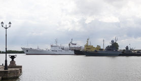Ships in the port of Kronstadt Stock Image
