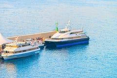Ships in Port Marina Grande in Sorrento. Tyrrhenian sea, Amalfi coast, Italy Stock Images