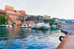 Ships at Port of Marina Grande at Sorrento. Tyrrhenian sea, Amalfi coast, Italy Royalty Free Stock Photography