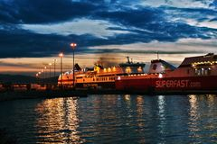 Ships at port of patras royalty free stock images