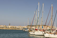 Ships in the port of Rethymnon.Krete Stock Photos