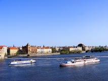 Ships in Prague, Czech Republic. Two ships in the river of Prague, Czech Republic Royalty Free Stock Photo