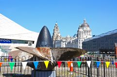 Ships Propeller and the Three Graces, Liverpool. Stock Image
