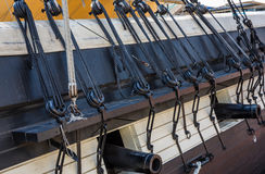 Ships pulleys and canons Royalty Free Stock Images