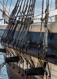 Ships pulleys and canons stock photo