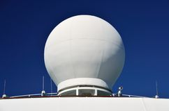 Ships Radar Dome. Radar dome on large ship, with aeriels and camera Stock Images