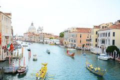 Ships and Regata Storica, Venice, Europe Royalty Free Stock Photography