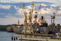 Ships in repair yard. In Szczecin royalty free stock images