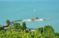 Ships resting on Lake Balaton in Tihany harbor Royalty Free Stock Images