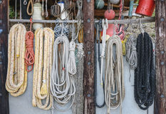 Ships rigging, ropes, fishing nets and rope ladders. Travel foto Stock Photo