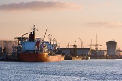 Ships on the river at colorful sunrise in october Royalty Free Stock Image