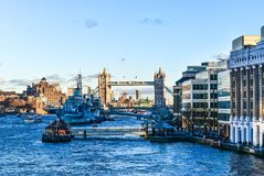 London bridge with ships Royalty Free Stock Image